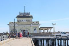 The St Kilda Pavilion is an historic kiosk located at the end of St Kilda Pier. ST KILDA, AUSTRALIA - December 26, 2017: The St Kilda Pavilion is an historic royalty free stock images
