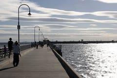 St Kilda Pier. People walking on St Kilda Pier in Melbourne Australia Royalty Free Stock Photo