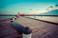 St. Kilda Pier at Dusk with boats in the harbour, and Pavilion i Stock Image