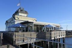 St Kilda Pier Melbourne Victoria Australia. Visitors at St Kilda Pier pavilion, a very popular tourist attraction in Port Philip Bay in Melbourne Victoria royalty free stock photos
