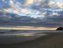 St Kilda plaża przy zmierzchem w Wiktoria Obraz Stock