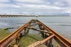St Kilda Slipway. St Kilda Pier with an old boat slipway in the foreground. St Kilda, Australia Stock Photography