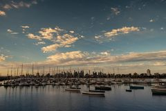 St. Kilda view of the Melbourne Skyline. A beautiful view of the Melbourne CBD skyline as seen from the St. Kilda pier stock photography