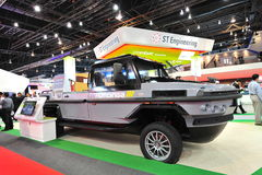 ST Kinetics revolutionary amphibious Humdinga truck for disaster relief and response at Singapore Airshow Royalty Free Stock Photos