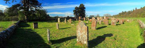 St Kintigern`s Graveyard near Hoddom Bridge, Annandale Way, Dumfries and Galloway, Scotland. The historic and picturesque St Kintigern`s Graveyard near Hoddom Royalty Free Stock Image