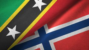 St.Kitts.en.Nevis en Noorwegen twee vlaggen textieldoek, stoffentextuur royalty-vrije illustratie
