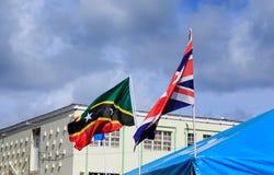 St Kitts et drapeaux de Briitsh Images libres de droits