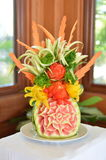 Fruit and Vegetable Carving. Made with fruits and vegetables of the island of St Kitts West Royalty Free Stock Photos