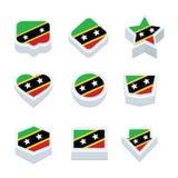 St kitts & nevis de vlaggenpictogrammen en knoop plaatsen negen stijlen Royalty-vrije Stock Foto's