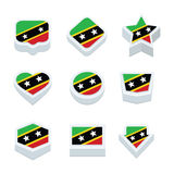 St kitts & nevis flags icons and button set nine styles Royalty Free Stock Photos