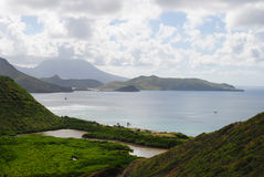 St Kitts south coast Caribbean. A view of St Kitts south coast from the top of a hill in the Caribbean Royalty Free Stock Image