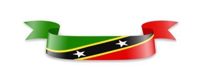 St. Kitts und Nevis-Flagge in Form von Wellenband Lizenzfreie Abbildung