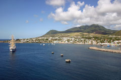St. Kitts. A view of the port of Basseterre in St. Kitts, West Indies Royalty Free Stock Images