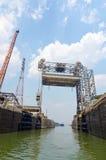 St. Lambert Locks with Tanker Ship Waiting Royalty Free Stock Photography