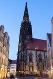 St Lamberti教会在曼斯特,德国 免版税库存图片