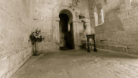 St Laurence Church Nave BW royaltyfri foto