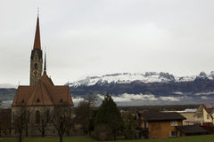 St. Laurentius Kirche in Vaduz in Liechtenstein Stockfoto