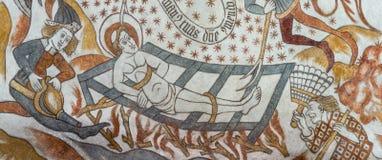 St Lawrance i jego męczeństwo na gridiron Zdjęcie Royalty Free