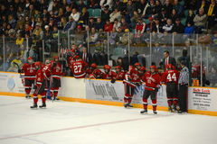 St. Lawrence Bench in NCAA Hockey Game Royalty Free Stock Photo