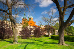 St.Lawrence church in spring park on Petrin hill Royalty Free Stock Images