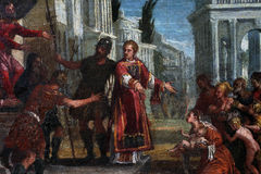 St. Lawrence leads the poor prefect of Valerian. Paolo Veronese: St. Lawrence leads the poor prefect of Valerian, exhibited at the Great Masters Renaissance in Stock Photography