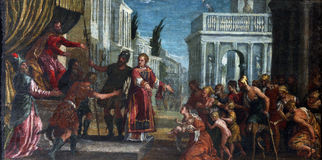 St. Lawrence leads the poor prefect of Valerian. Paolo Veronese: St. Lawrence leads the poor prefect of Valerian, exhibited at the Great Masters Renaissance in Stock Images