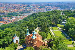 St. Lawrence, Moldau, Panorama of Prague, Czech Republic Stock Photography