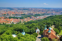 St. Lawrence, Moldau, Panorama of Prague, Czech Republic Stock Photo
