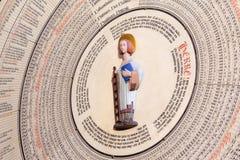 St Lawrence op de kalender in de Kathedraal van Lund Royalty-vrije Stock Foto