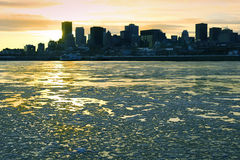 St. Lawrence River in Montreal. A view of the St. Lawrence river and Montreal in Canada royalty free stock photo