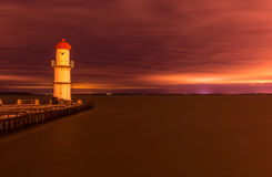 St Lawrence River. A view on Lachine lighthouse and St Lawrence river in Montreal stock image
