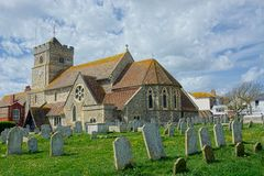 St Leonard`s Church, Seaford, Sussex. Although Seaford is not mentioned in the 1086 Domesday Book, St Leonard`s church is thought to have started soon after the stock photo