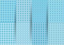 St?ll in av 6 abstrakta s?ml?sa rutiga geometriska modeller Blå geometrisk ackground för vektor för tyger, tryck, barns kläder royaltyfri illustrationer