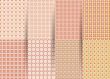 St?ll in av 6 abstrakta s?ml?sa rutiga geometriska modeller Rosa geometrisk ackground f?r vektor f?r tyger, tryck, barns kl?der stock illustrationer