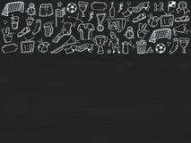 St?ll in av fotboll, sporten, fotbollsymbolsklotter p? den svart tavlan Skissad hand som dras ocks? vektor f?r coreldrawillustrat stock illustrationer