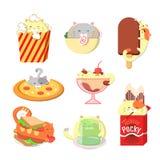 St?ll in av gulliga katter med mat Kawaii vektorkatter stock illustrationer