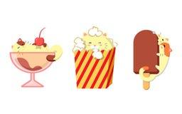 St?ll in av gulliga katter med mat Kawaii vektorkatter vektor illustrationer