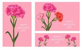 St?ll in av mallar f?r mors dag med nejlikan Affisch, baner eller h?lsningkort vektor stock illustrationer