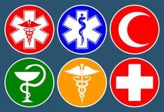 St?ll in av medicinska internationella symboler som dekoreras i en cirkel Stj?rna av liv, personal av Asclepius, caduceus, bunke  vektor illustrationer
