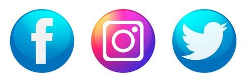 St?ll in av popul?r social f?r den Instagram Facebook Twitter f?r massmedialogosymboler vektor best?ndsdelen p? vit bakgrund royaltyfri illustrationer