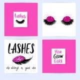 St?ll in med modekort med inspirationcitationstecken om flickor, sn?rtar, makeup stock illustrationer