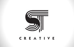 ST Logo Letter With Black Lines Design. Line Letter Vector Illus Royalty Free Stock Photography