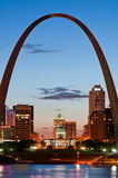 St. Louis. Image of St. Louis downtown with Gateway Arch at twilight Royalty Free Stock Image