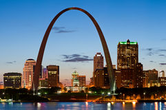 St. Louis. Image of St. Louis downtown with Gateway Arch at twilight Royalty Free Stock Images