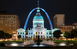 St. Louis. Downtown with Old Courthouse at night Royalty Free Stock Photo