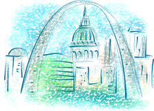 St louis. Abstract illustration of city on multicolor background Stock Photos