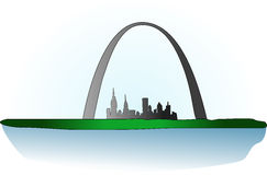 St Louis Arch. An illustration of St Louis Arch. The tallest man-made 630-foot-high monument in St. Louis, in the U.S. state of Missouri Stock Image