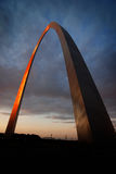 St Louis Arch Metal Gateway Landmark Sunset Glowing Orange Stock Photo