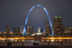 St. Louis Arch. Night shot of downtown St. Louis riverfront with the Arch shot from the Illinois side of the river Royalty Free Stock Photos