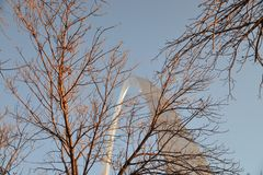 St Louis Arch no inverno Fotos de Stock Royalty Free